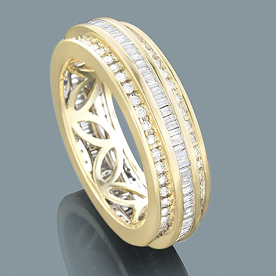 14K Gold Round Baguette Diamond Eternity Ring 2.01ct