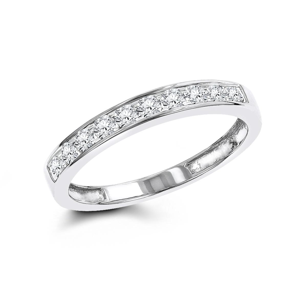 Thin 14K Gold Round Cut Womens Diamond Wedding Band Ring 0.36ct