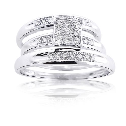 14K Gold Round Diamond Bridal Ring Set 0.60ct