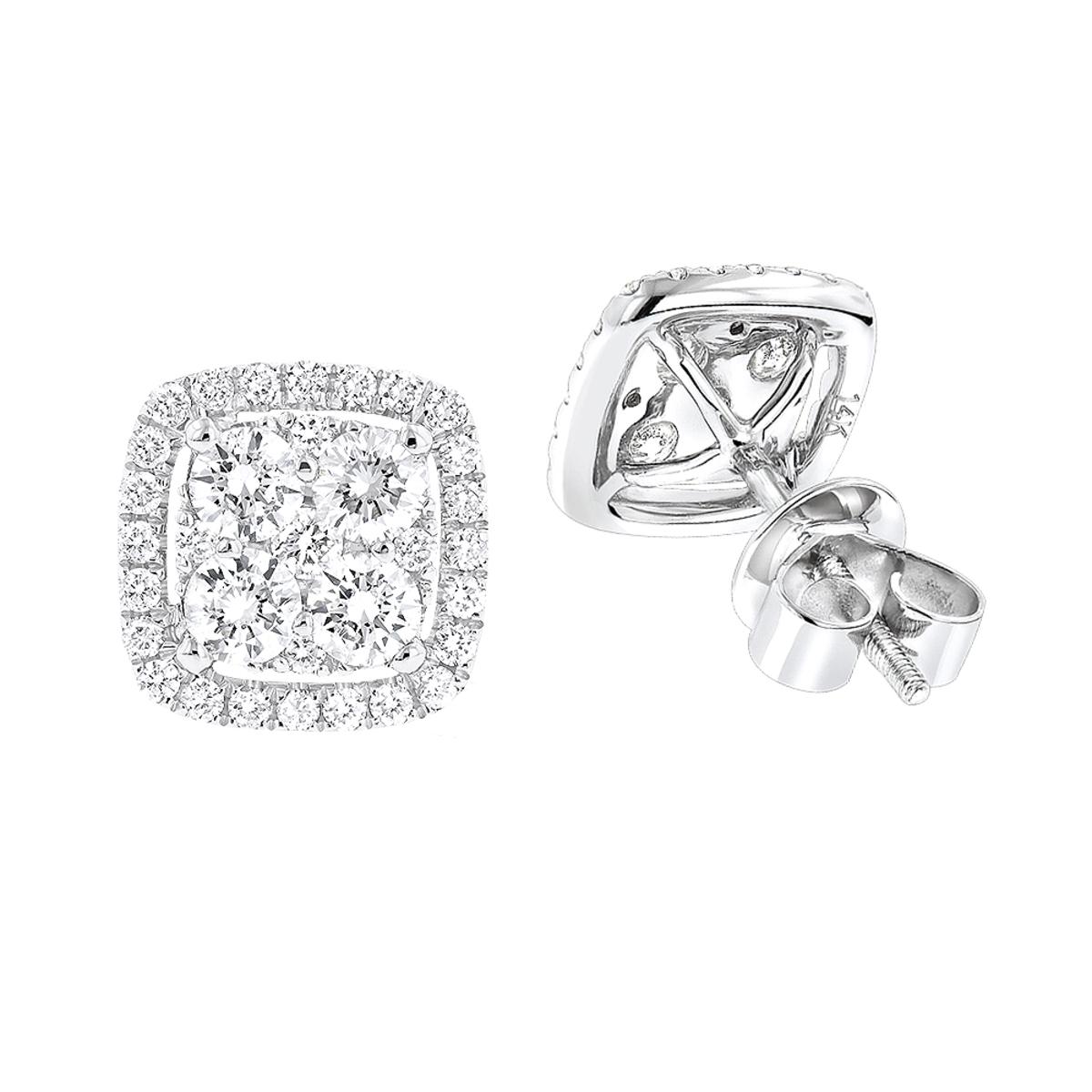 14K Gold Round Diamond Cluster Earrings Studs 1.5ct by Luxurman