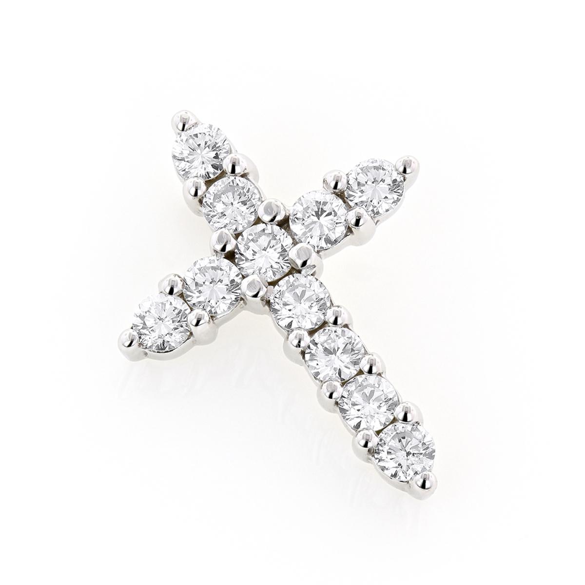 14K Gold Round Diamond Cross Pendant 1 carat