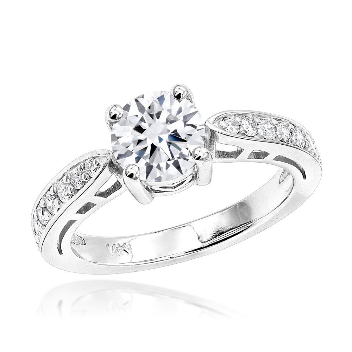 14K Gold Round Diamond Engagement Ring 1.25ctw