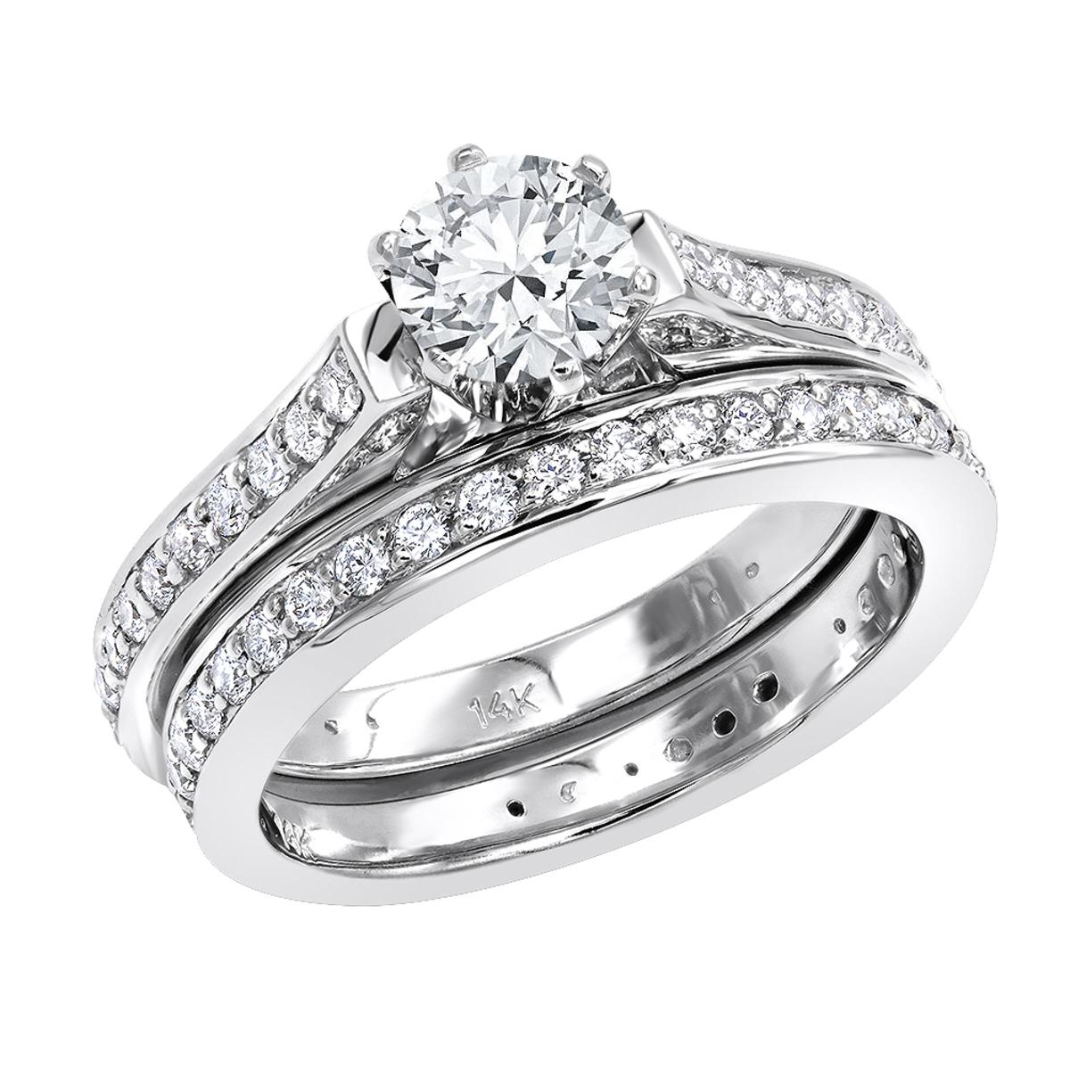 14K Gold Round Diamond Engagement Ring and Wedding Band Set 1.75ct