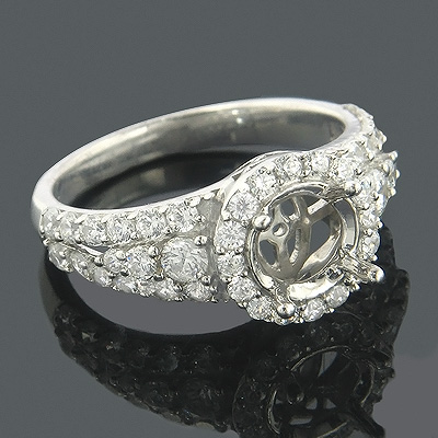 Halo 14K Gold Round Diamond Engagement Ring Setting 1.08ct