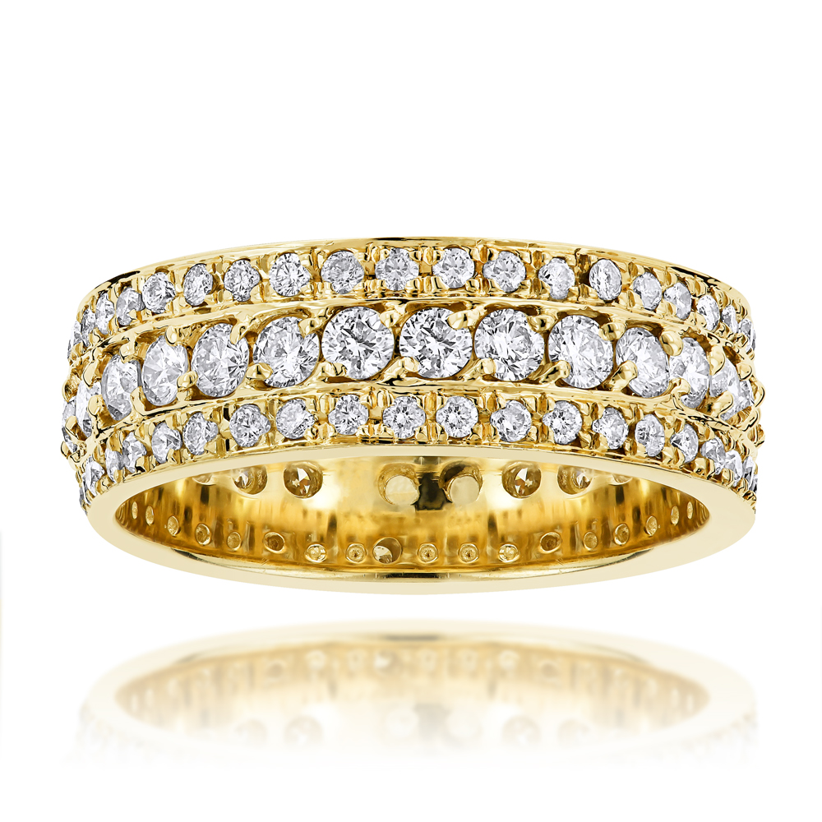 14K Gold Round Diamond Eternity Band 2 Carat Ring by Luxurman