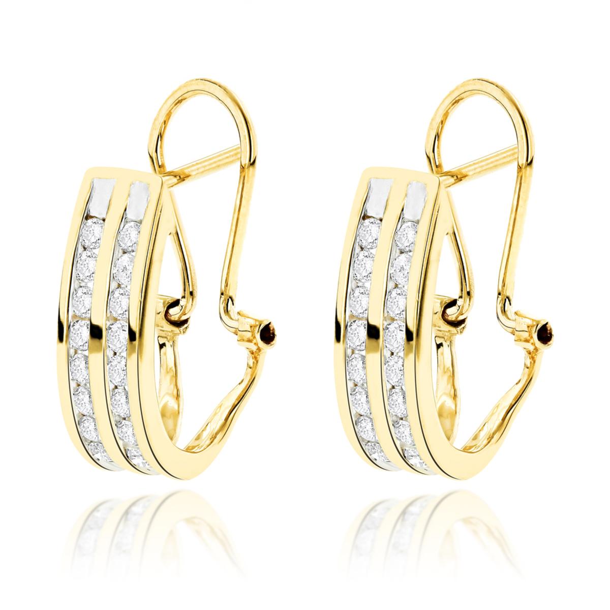 14K Gold Round Diamond Hoop Earrings 0.63ct