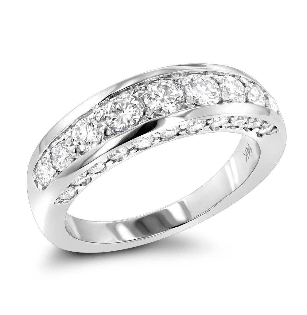 Thin 14K Gold Round Diamond Ladies Wedding Ring 1.3ct