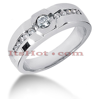 14K Gold Round Diamond Men's Wedding Band 0.55ct