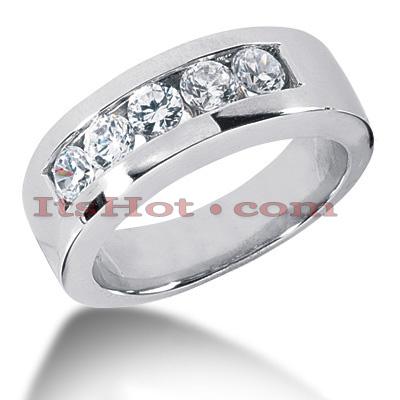 14K Gold Round Diamond Men's Wedding Band 1.25ct
