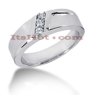 14K Gold Round Diamond Mens Wedding Ring 0.15ct