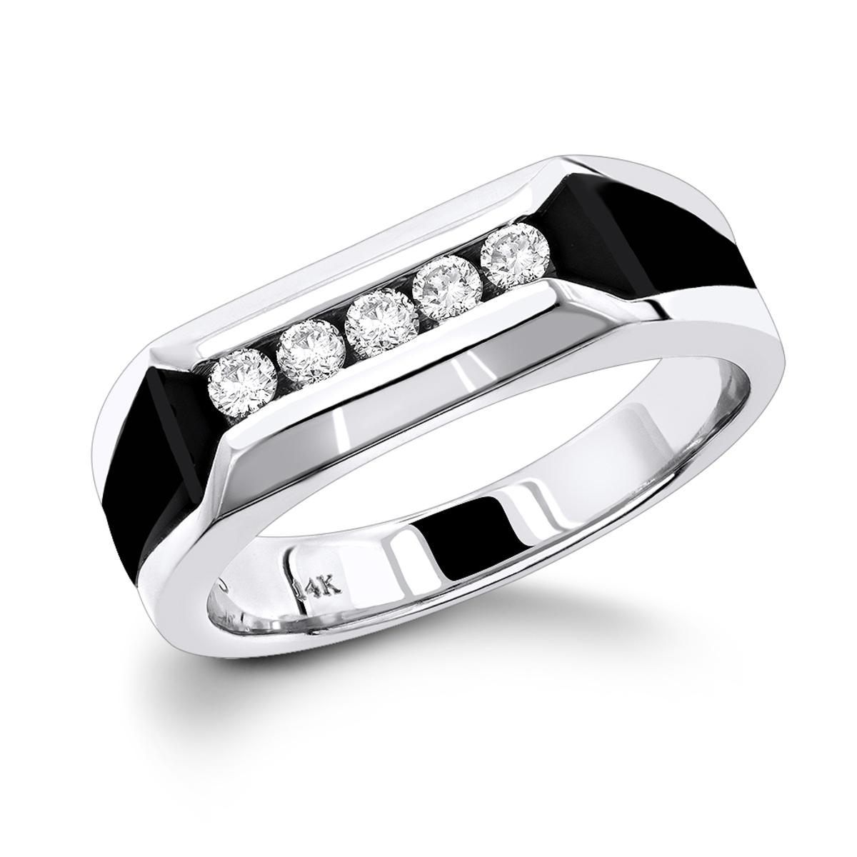 5 Stone 14K Gold Round Diamond Mens Wedding Ring with Onyx 0.25ct