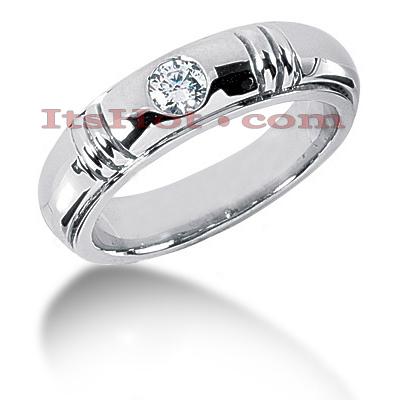 14K Gold Round Diamond Men's Wedding Ring 0.40ct