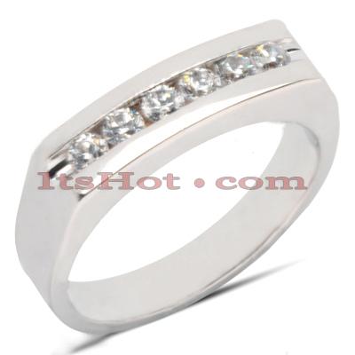 14K Gold Round Diamond Men's Wedding Ring 0.42ct