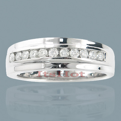 14K Gold Round Diamond Men's Wedding Ring 0.50ct