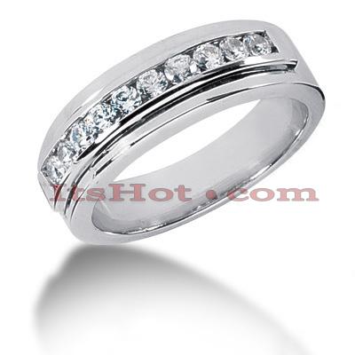 14K Gold Round Diamond Men's Wedding Ring 0.60ct