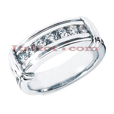 14K Gold Round Diamond Men's Wedding Ring 0.70ct