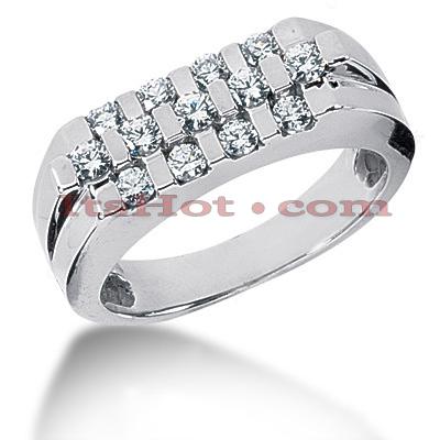 14K Gold Round Diamond Mens Wedding Ring 0.75ct
