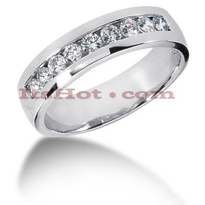 14K Gold Round Diamond Men's Wedding Ring 0.81ct