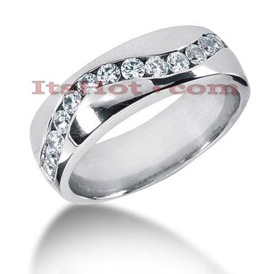 14K Gold Round Diamond Mens Wedding Ring 0.90ct