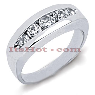 14K Gold Round Diamond Men's Wedding Ring 1.35ct