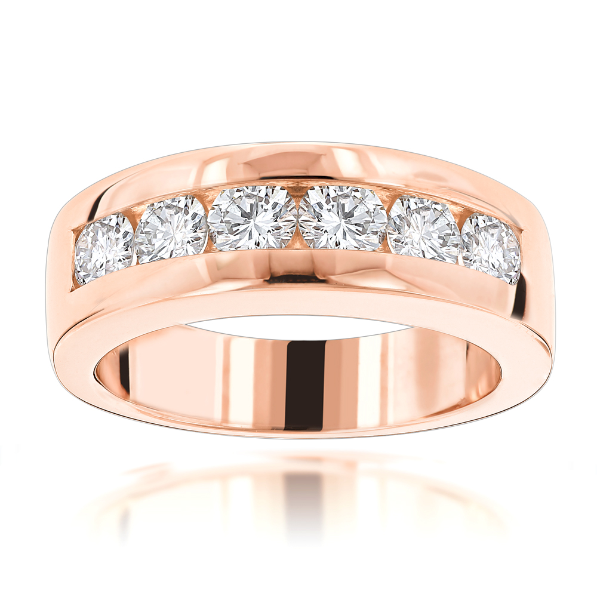 14K Gold Round Diamond Mens Wedding Band 6 Stone Anniversary Ring 1.5ct
