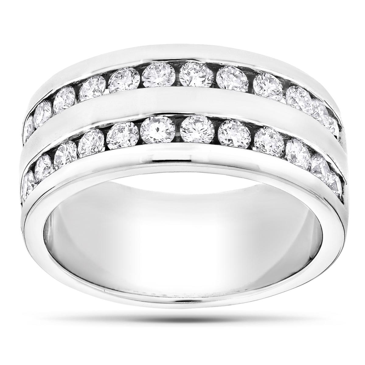 14K Gold Round Diamond Men's Wedding Ring 2.08ct