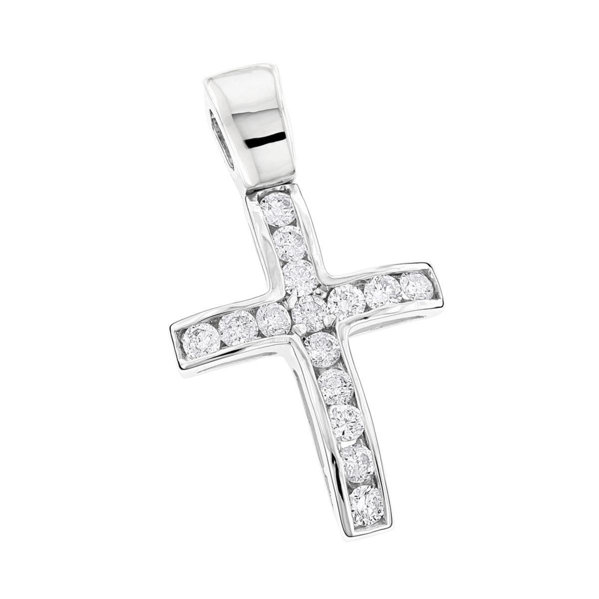 14K Gold Round Diamond Mini Cross Pendant 0.85ct