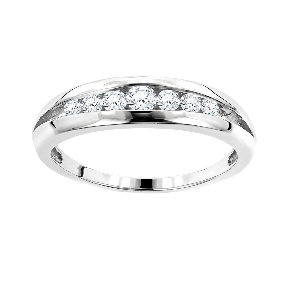 14K Gold Round Diamond Wedding Band for Women 0.38ct 7 Stone Ring