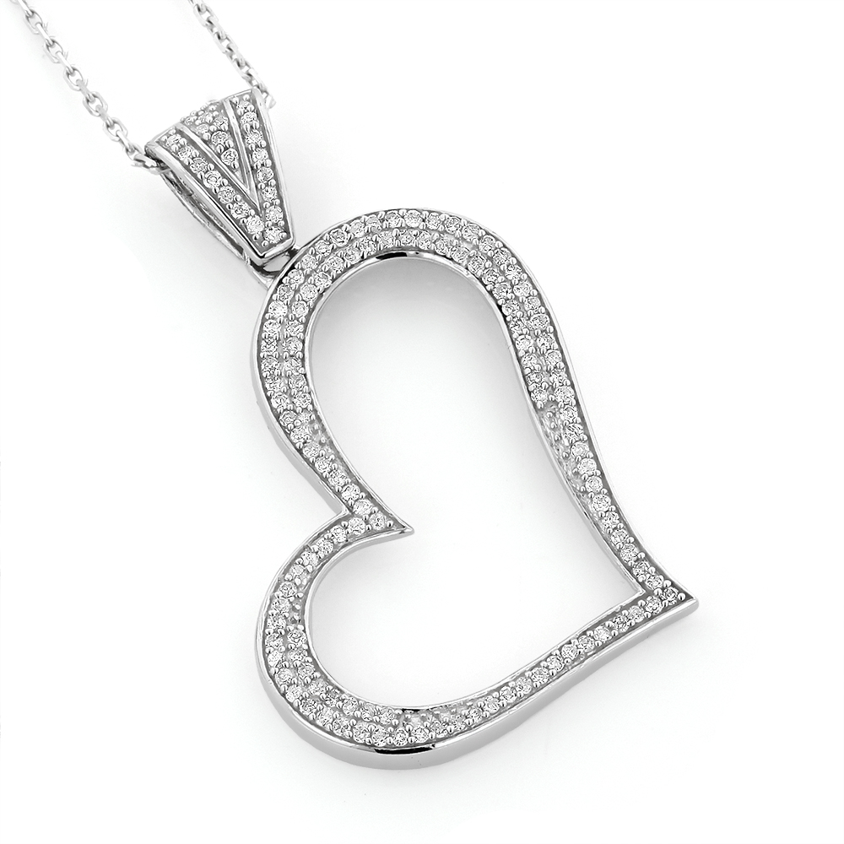 14K Gold Round Pave Diamond Heart Pendant 0.5ct