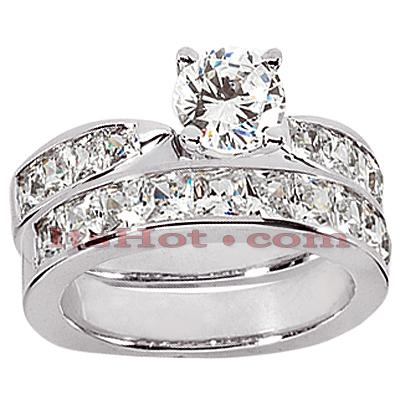 14K Gold Round & Princess Cut Diamond Engagement Rings Bridal Set 2.42ct