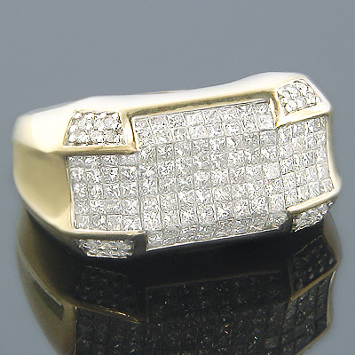 14K Gold Round Princess Cut Diamond Mens Ring 3.12ct