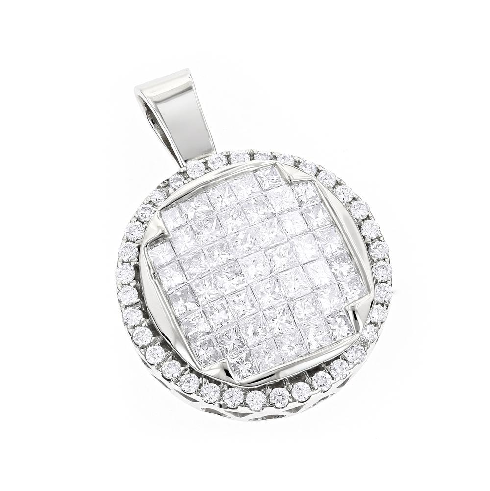 14K Gold Round Princess Diamond Circle Pendant for Women 1.25ct