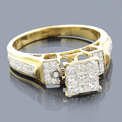 14K Gold Round Princess Diamond Engagement Ring 0.75ct