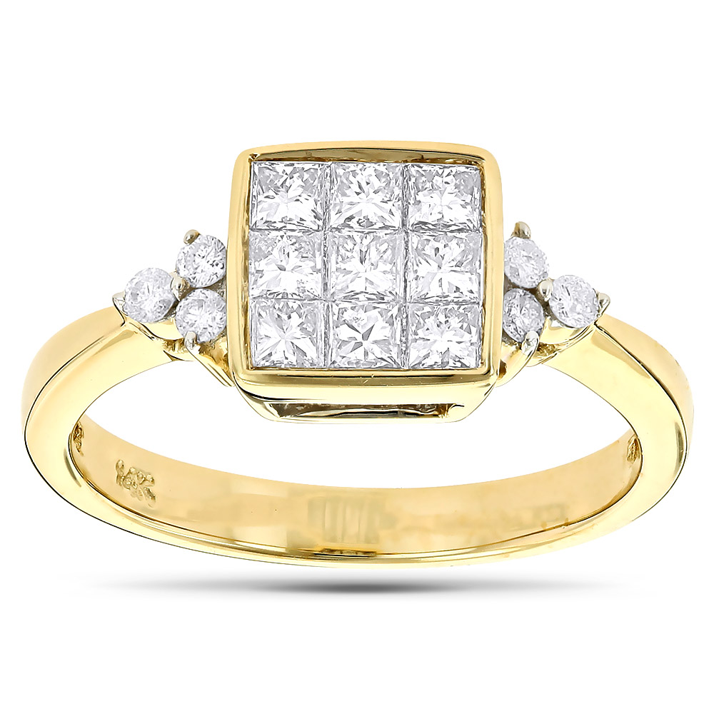 14K Gold Round & Princess Diamond Engagement Ring 1.03