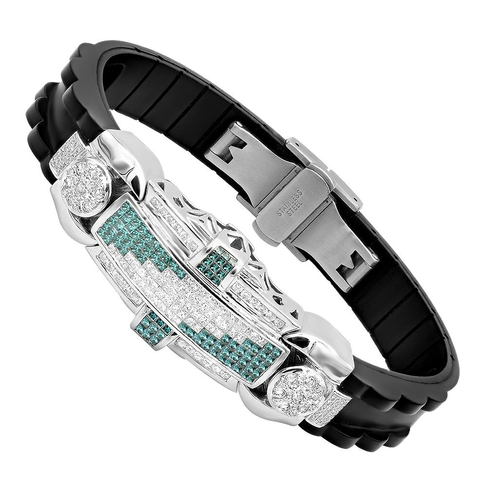 14K Gold & Rubber Bangle Bracelets White and Blue Diamond Bracelet for Men