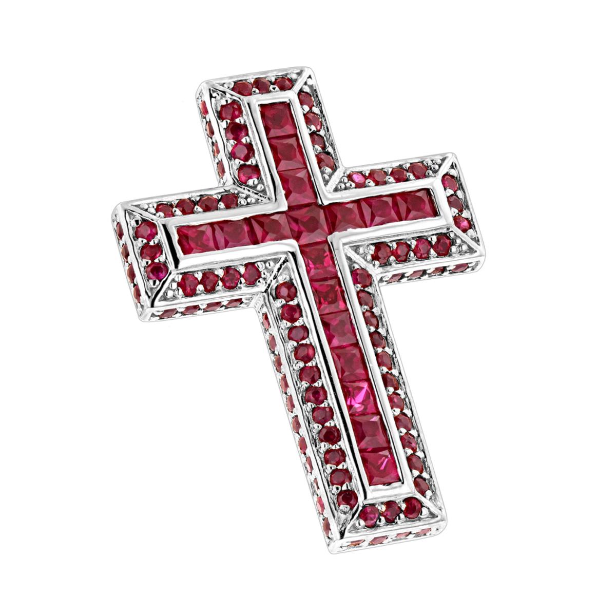 14K Gold Ruby Cross Pendant Round Princess Cut 2.85ct by Luxurman