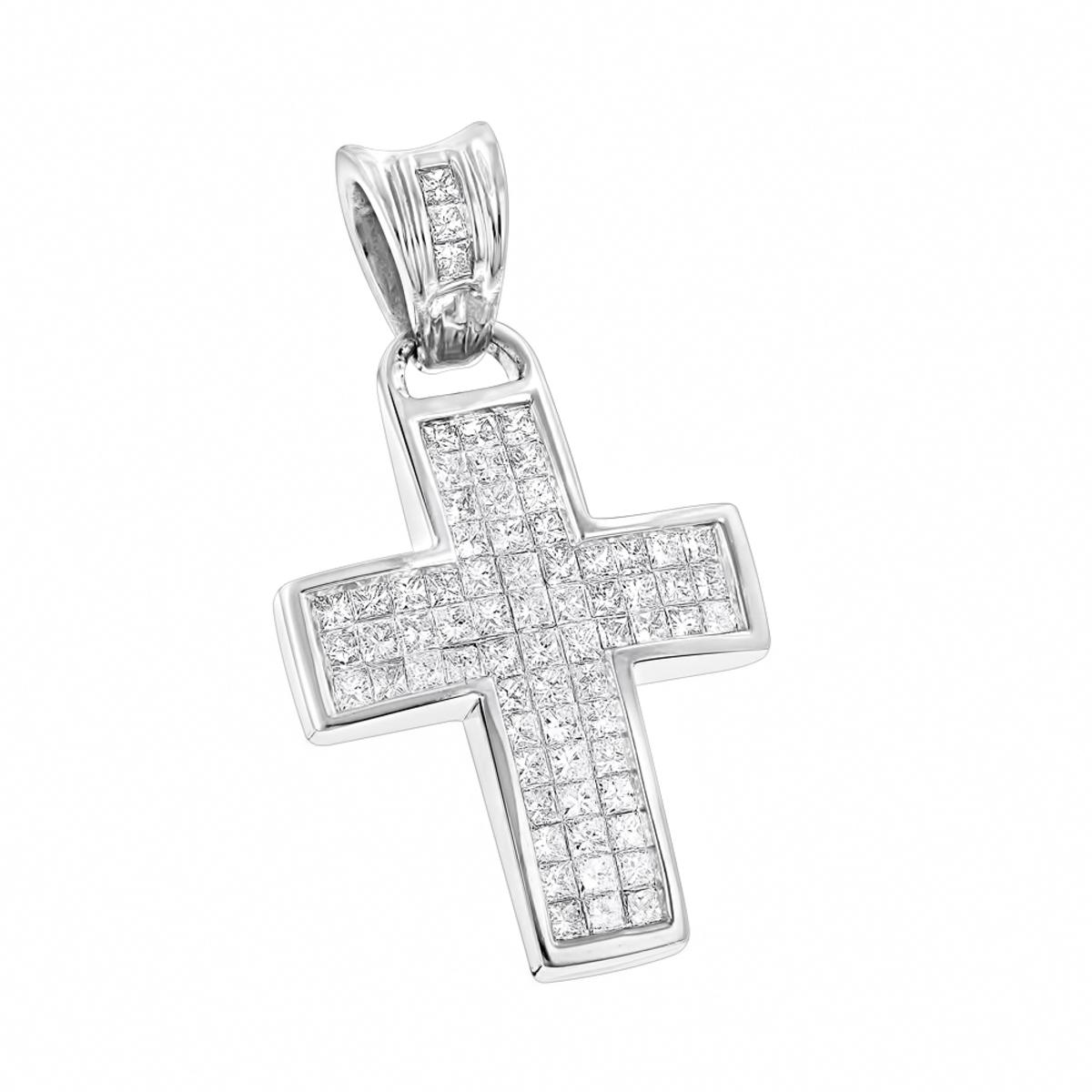 14K Gold Small Diamond Cross Pendant 1.1 ct
