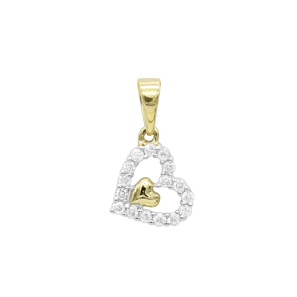 14K Gold Small Diamond Heart  Pendant for Women by Luxurman