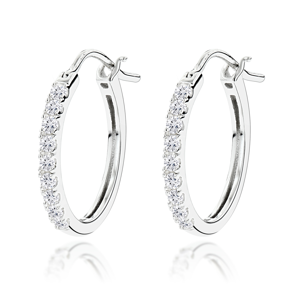 14K Gold Small Diamond Hoop Earrings 0.21ct
