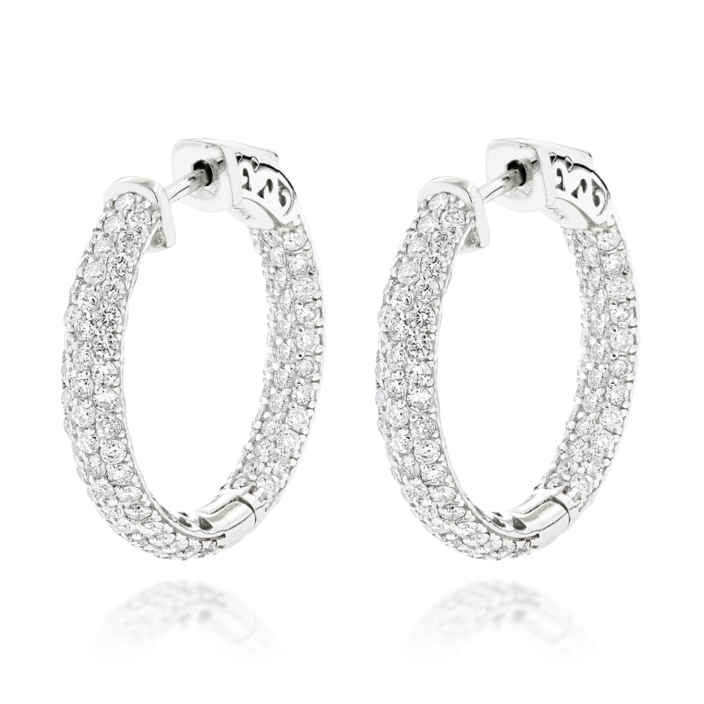 14K Gold Small Inside Out Diamond Hoop Earrings 2.9ct