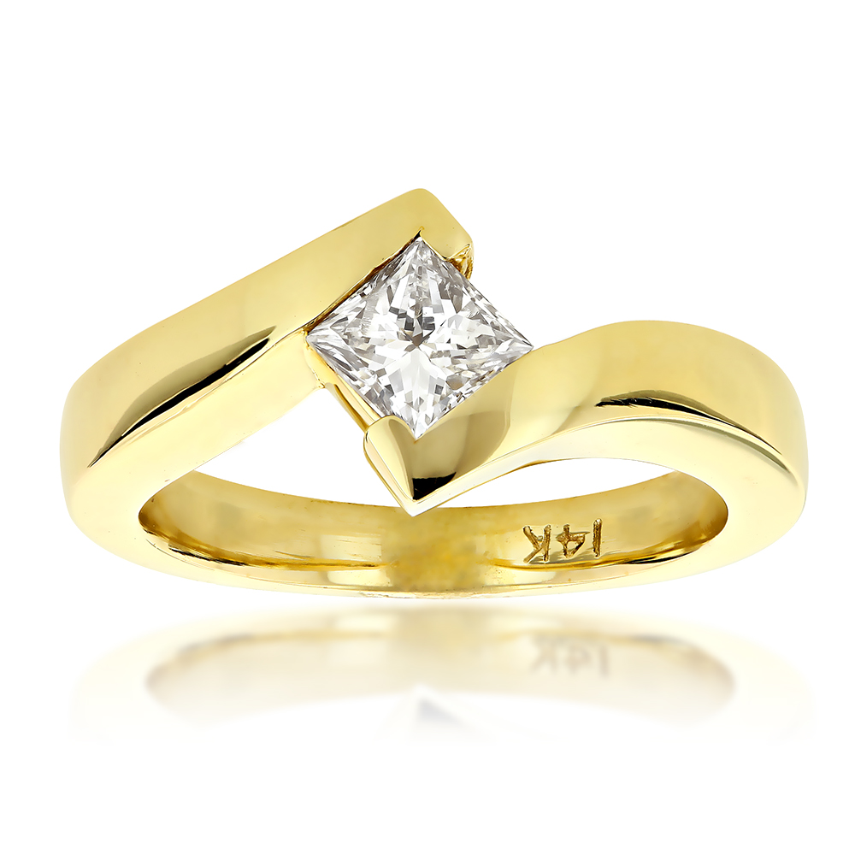 Classy Princess Cut Diamond Solitaire Engagement Ring 0.4ct 14k Gold