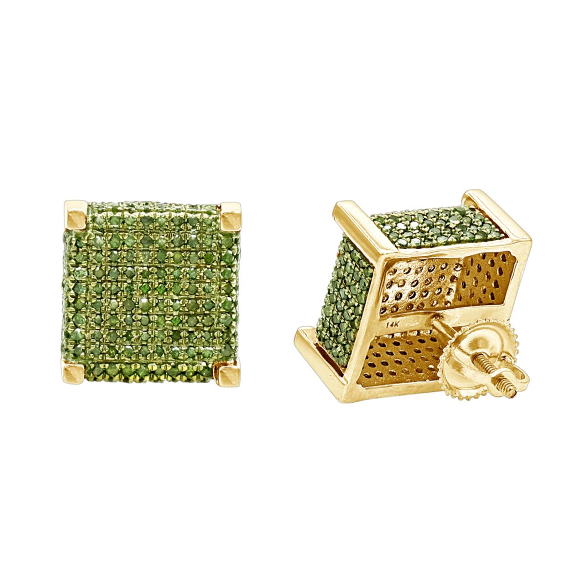 14K Gold Square Green Diamond Stud Earrings 1.3ct by Luxurman