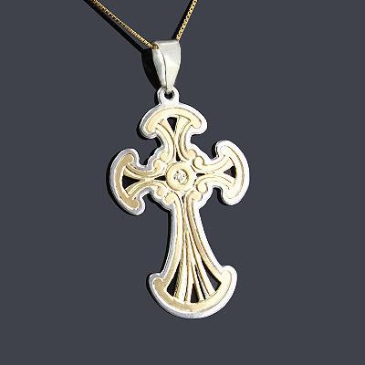 14K Gold Sterling Silver Cross Pendant 0.01ct