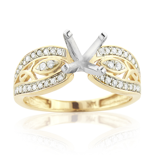 14K Gold Tacori Style Diamond Engagement Ring Mounting 0.27ct