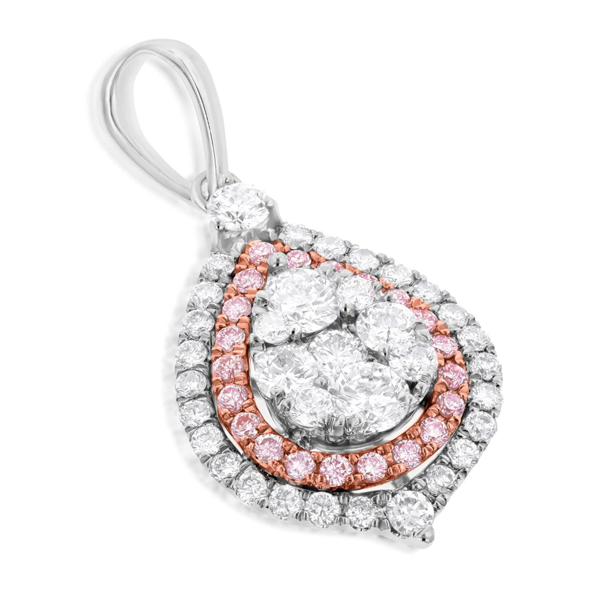 14K Gold Teardrop Shape Cluster White Pink Diamond Pendant for Women 1.25ct