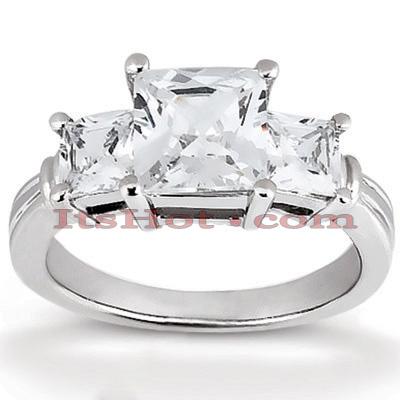 14K Gold Three Stone Diamond Engagement Ring 0.64ct