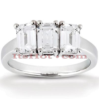 14K Gold Three Stone Diamond Engagement Ring 0.75ct