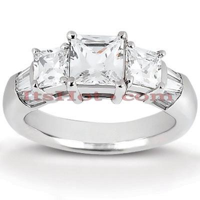 14K Gold Three Stone Diamond Engagement Ring 0.82ct