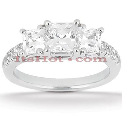 14K Gold Three Stone Diamond Engagement Ring 0.94ct