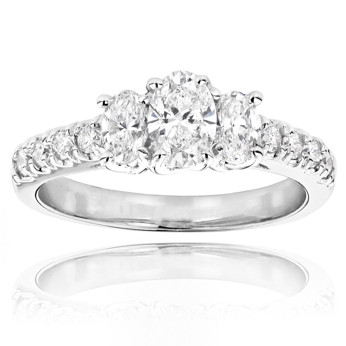 14K Gold Three Stone Diamond Engagement Ring 1.20ct